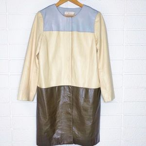 Tory Burch Darcy Leather Colorblock Trench Coat